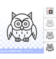 owl simple black line halloween sign icon vector image vector image