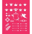 pink decor with crowns vector image vector image