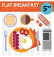 retro flat breakfast eggs and bacon vector image