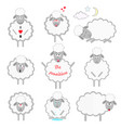 set cartoon sheeps in different positions vector image vector image