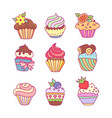 set cupcakes vector image