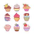 set cupcakes vector image
