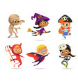 set multiracial boys and girls wearing vector image vector image