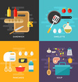 Set of Flat Style Cooking Concept Ingridients and vector image vector image