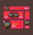 set of modern pink and black sale banners vector image