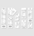 set paper receipts isolated on background vector image vector image
