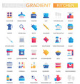 set trendy flat gradient kitchen icons vector image