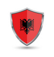shield with flag of albania isolated on white back vector image vector image