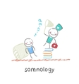 somnology standing on a pile of books and catches vector image vector image