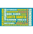South Dakota state cities list vector image vector image