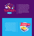 teachers day and literacy day vector image vector image