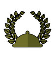 tray with wreath leafs crown emblem vector image