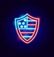 usa shield neon sign vector image