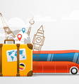 Vacation travelling composition with red bus vector image vector image