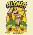 vintage hawaiian dancing girl vector image