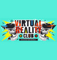virtual reality flyer with skulls vector image vector image