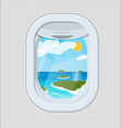 window from inside the airplane with island vector image vector image