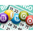 bingo balls on a card background vector image vector image