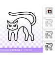 black cat halloween simple black line icon vector image