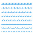 blue wave sea seamless pattern marine element vector image