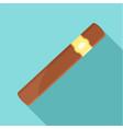 brown cigar of cuba icon flat style vector image vector image