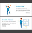 business idea and strategy businessman with board vector image vector image