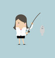 businesswoman fishing a big fish vector image