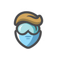 chemist man in mask icon cartoon vector image