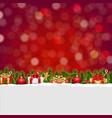 christmas postcard with bokeh and gift box vector image vector image