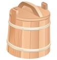 Closed wooden tub Wooden bucket with lid vector image