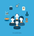 Concept of teamwork of business people leading vector image
