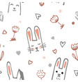 cute cartoon baby rabbit or bunny and flowers vector image
