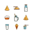 Dairy icon set in line style design vector image vector image