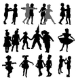 Dancing children silhouettes vector image