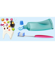 Dental theme with tooth decay and equipment vector image vector image