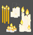 different candle with fire vector image vector image