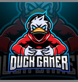 duck gamer esport mascot logo design vector image