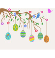 easter egg hanging on tree and birds flowers card vector image vector image