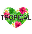 floral tropical heart vector image