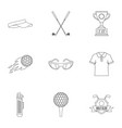 golf things icons set outline style vector image vector image
