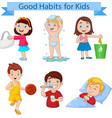 good habits collection for kids vector image vector image
