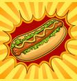 hot dog pop art vector image vector image