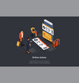 isometric composition with infographics 3d vector image vector image