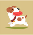 jack russell puppy character playing with disk vector image