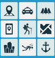 journey icons set with city pin forest and other vector image vector image