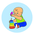 Little lovely baby boy playing with toys Kid plays vector image vector image