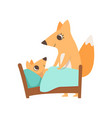 loving mother fox putting her baby to sleep vector image vector image