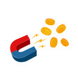 magnet and coins business success concept vector image