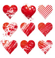 nine lovely red heart vector image vector image