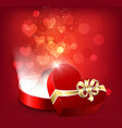 opened red gift box in shape a heart vector image vector image